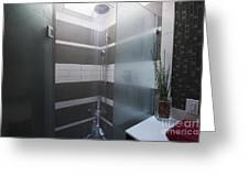 Water Turned On In A Shower Greeting Card by Marlene Ford