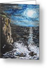 Water Under The Moonligt Greeting Card by Cheryl Pettigrew