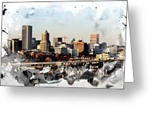 Watercolor Of Downtown Portland Greeting Card by Cathie Tyler
