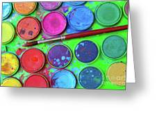 Watercolor Palette Greeting Card by Carlos Caetano