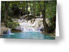 waterfall in deep forest Greeting Card by Setsiri Silapasuwanchai