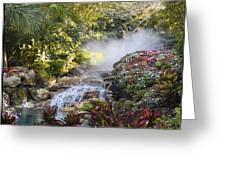 Waterfall In The Mist Greeting Card by Barbara Middleton