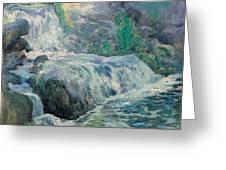Waterfall Greeting Card by John Henry Twachman