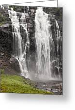 Waterfalls Over A Cliff Norway Greeting Card by Keith Levit
