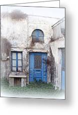 Weathered Greek Building Greeting Card by Carla Parris