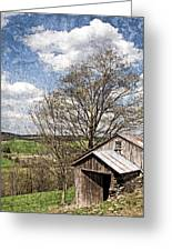 Weathered Hillside Barn Spring Greeting Card by John Stephens