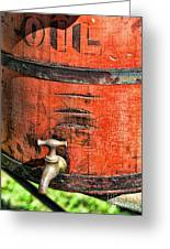 Weathered Red Oil Bucket Greeting Card by Paul Ward
