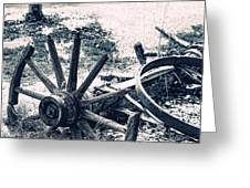 Weathered Wagon Wheel Broken Down Greeting Card by Tracie Kaska