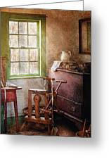 Weaving - In The Weavers Cottage Greeting Card by Mike Savad