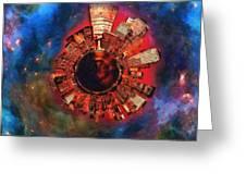 Wee Manhattan Planet - Artist Rendition Greeting Card by Nikki Marie Smith