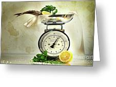 Weight Scale With Fish  Greeting Card by Sandra Cunningham