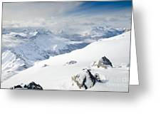 Weissfluhgipfel Summit View From The Summit Across Davos Greeting Card by Andy Smy