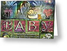 Welcome Baby Girl Greeting Card by Evie Cook