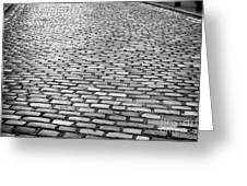 Wet Cobblestoned Huntly Street In The Union Street Area Of Aberdeen Scotland Greeting Card by Joe Fox