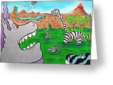 When Zebrasaurs Walked The Earth Greeting Card by Jera Sky