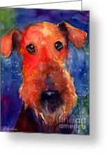 Whimsical Airedale Dog Painting Greeting Card by Svetlana Novikova
