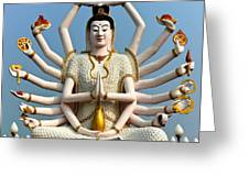 White Buddha Greeting Card by Adrian Evans