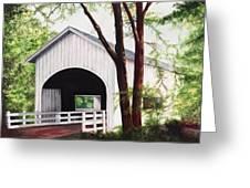 White Covered Bridge Greeting Card by Yvonne Hazelton