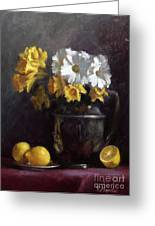 White Daisies And Daffodils  Greeting Card by Viktoria K Majestic