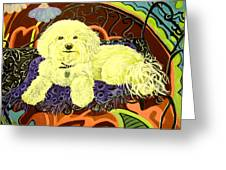 White Dog In Garden Greeting Card by Patricia Lazar
