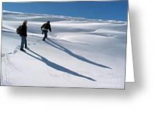 White Hiking Greeting Card by Issam Hajjar