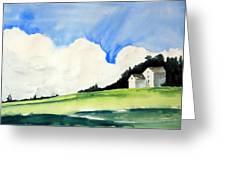 White Mountain Farmhouse Greeting Card by Rachel Dutton