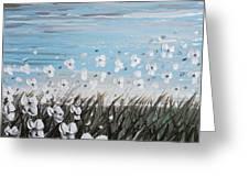 White Wildflower Breeze Greeting Card by Christine Krainock