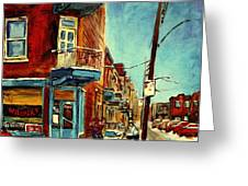 Wilensky's Corner Fairmount And Clark Greeting Card by Carole Spandau