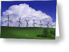 Wind Generators With Clouds In Greeting Card by Don Hammond