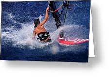 Wind Surfing Greeting Card by Manolis Tsantakis