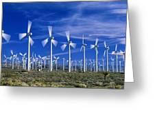 Wind Turbines, California, Usa Greeting Card by David Nunuk