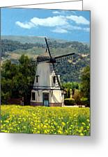 Windmill At Mission Meadows Solvang Greeting Card by Kurt Van Wagner