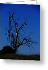 Windmill Blue Greeting Card by Todd Sherlock