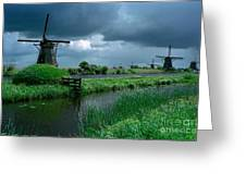 Windmills Of Kinderdijk Greeting Card by Serge Fourletoff