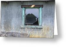 Window Framed In Aqua Greeting Card by Glennis Siverson