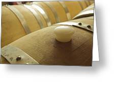 Wine Barrel Detail In Cellar At Winery Greeting Card by James Forte