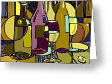 Wine Bottle Deco Greeting Card by Peggy Wilson