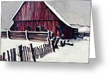 Winter Barn Greeting Card by Robert Birkenes