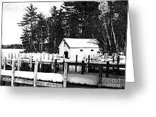 Winter Boathouse Greeting Card by Christy Bruna
