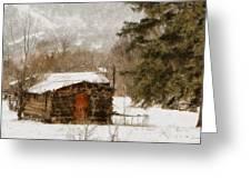 Winter Cabin 2 Greeting Card by Ernie Echols