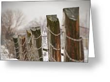 Winter Fence Greeting Card by Sandra Cunningham