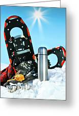 Winter Fun With Hot Chocolate And Cookies In The Snow Greeting Card by Sandra Cunningham