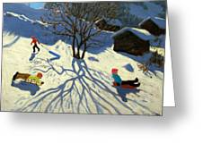 Winter Hillside Morzine France Greeting Card by Andrew Macara