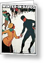 Winter In Davos Greeting Card by Burkhard Mangold