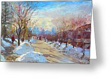 Winter In Silverado Dr Mississauga On Greeting Card by Ylli Haruni