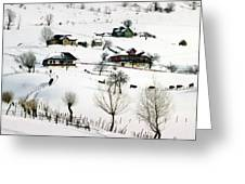 Winter In The Village Greeting Card by Emanuel Tanjala