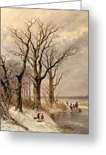 Winter Landscape With Faggot Gatherers Conversing On A Frozen Lake Greeting Card by Josephus Gerardus Hans