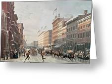 Winter Scene On Broadway Greeting Card by American School