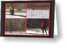 Winter Sports 2 On Bear Creek Trail Greeting Card by Gretchen Wrede