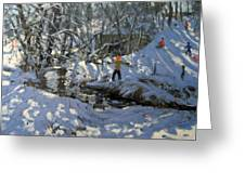 Winter Stream Greeting Card by Andrew Macara